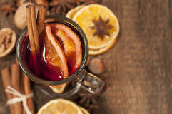 Background with mulled wine. And spices Royalty Free Stock Photo