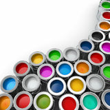 Background from multi color cans of paint. Stock Photo