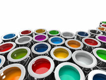 Background from multi color cans of paint. 3d Stock Images