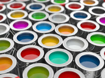 Background from multi color cans of paint. 3d Stock Photo
