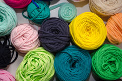 Background of multi-colored balls of yarn and thread Stock Photography
