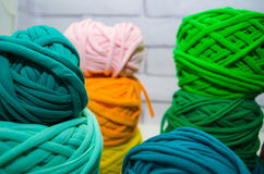 Background of multi-colored balls of yarn and thread Royalty Free Stock Photo