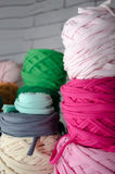 Background of multi-colored balls of yarn and thread Stock Image