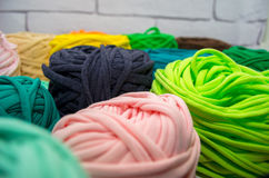 Background of multi-colored balls of yarn and thread Stock Images