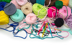 Background of multi-colored balls of yarn and thread Stock Photo