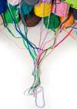 Background of multi-colored balls of yarn and thread Royalty Free Stock Photos