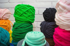 Background of multi-colored balls of yarn and thread Royalty Free Stock Image
