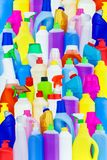 Background of multi-colored bottles with household chemicals stock photos