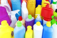 Background of multi-colored bottles with household chemicals Stock Images