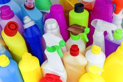 Background of multi-colored bottles with household chemicals Royalty Free Stock Photos