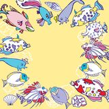 Background with multi colored fishes Royalty Free Stock Photography