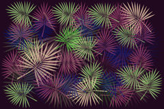 Background of multi-colored leaves. Colorful leaves and twigs on a purple background Stock Image
