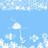 Blue. Background with multi-colored marine life Royalty Free Stock Photography