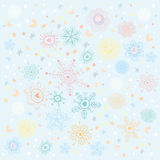 Background of multi-colored snowflakes and the pat Royalty Free Stock Photos
