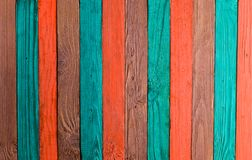 Background of multi-colored wooden boards. Color fence. Wooden texture Stock Photo