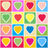 Background with multicolor hearts on grid. Valentine's day abstract background with multicolor hearts on grid. Seamless pattern. Vector illustration Stock Illustration