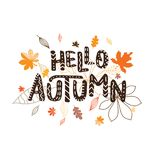 Background with multicolor leaves and letter hello autumn. Vecto. R illustration Royalty Free Illustration