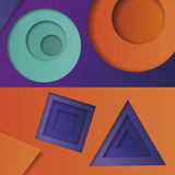Background of multicolored abstract vector in the style of material design with geometric shapes of different sizes. Multilayer ci. Rcles, triangles, squares on Stock Images