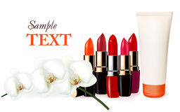 Background with multicolored color lipsticks Royalty Free Stock Photos
