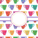 Background with multicolored cups stock illustration