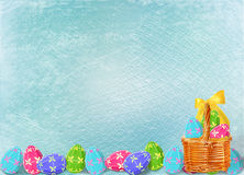 Background with multicolored eggs to celebrate Easter Stock Photos