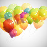 Background with multicolored flying balloons Stock Photo