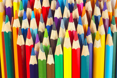 Background of multicolored pencils for art closeup Stock Photos