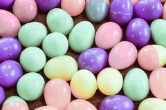 Background of multicolored plastic Easter eggs. Background of multicolored plastic Easter eggs Royalty Free Stock Photo