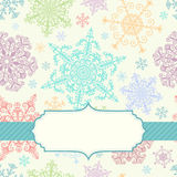 Background with multicolored snowflakes Stock Image