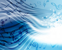 Background with music. Abstract flowing blue background with music Stock Image