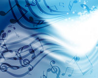 Background with music. Abstract flowing blue background with music Stock Photos