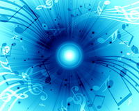 Background with music. Abstract flowing blue background with music Stock Photography
