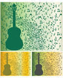 Background music. Background of music and a silhouette of a guitar (three species royalty free illustration