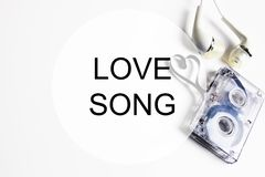 Love song background om audio cassette tape shape heart Royalty Free Stock Images