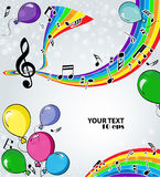 Background music with balloons. Festive musical background with balloons Royalty Free Stock Photography