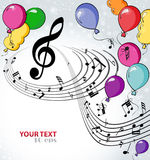 Background music with balloons. Festive musical background with balloons Royalty Free Stock Photo