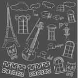 Background with music and city on black chalkboard Stock Photos