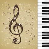 Background music grunge. Music notes grunge background with piano Royalty Free Stock Image