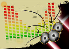 Background with music motif. And speakers Stock Photography