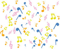 Background music notation. Musical background with colored notes Royalty Free Stock Photography