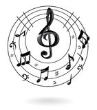 Background with Music Note. Stock Photo
