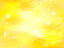 Background music note gold yellow Stock Photography