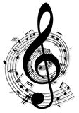 Background music notes. Vector black music notes design Stock Photos