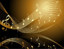 Background with music notes. Gold and black Stock Image