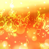 Background with music notes and stars Stock Image
