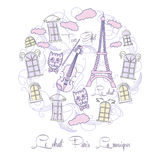 Background with music and Tour Eiffel Royalty Free Stock Photos