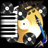 Background music vinyl records, saxophone, guitar and piano Royalty Free Stock Photography