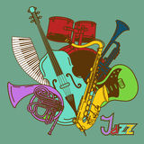 Background with musical instruments Royalty Free Stock Photo