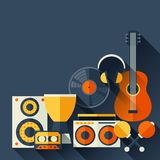 Background with musical instruments in flat design Royalty Free Stock Images