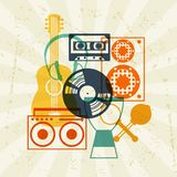 Background with musical instruments in flat design Stock Photography